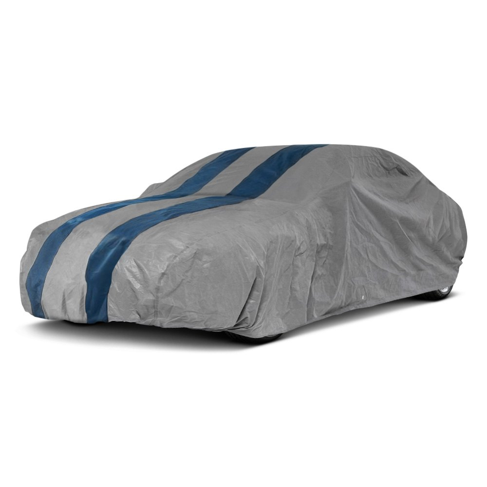 Duck Covers Rally X Defender Gray Car Cover With Navy Blue Stripes