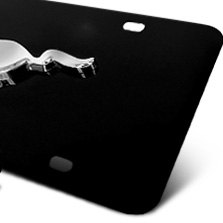 DWD® - 3D Mustang Logo on Black Stainless Steel License Plate