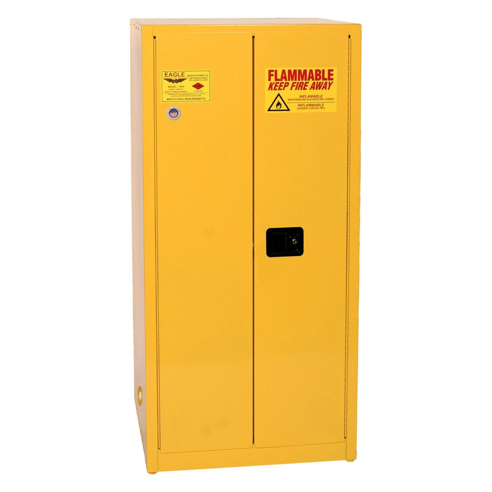 Eagle Manufacturing®   60 Gallon Yellow Two Door Flammable Liquid Safety Storage  Cabinet Manual Close