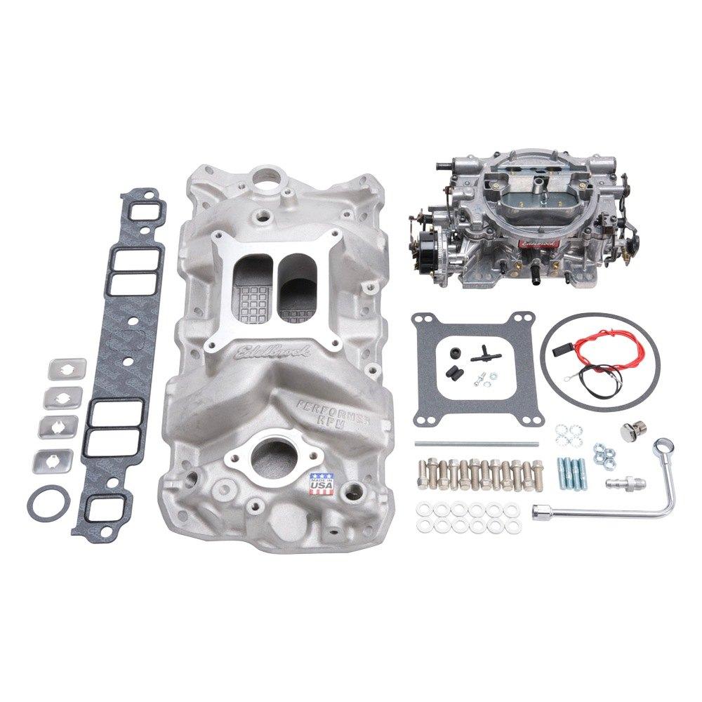 Carburetor Intake Manifold : Edelbrock performer single quad satin intake