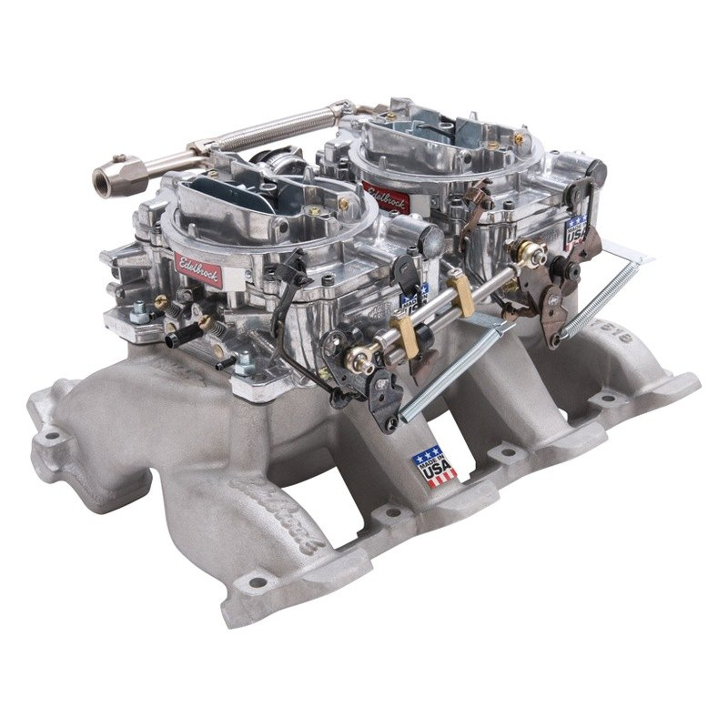 Carburetor Intake Manifold : Edelbrock rpm dual quad intake manifold and carburetor kit