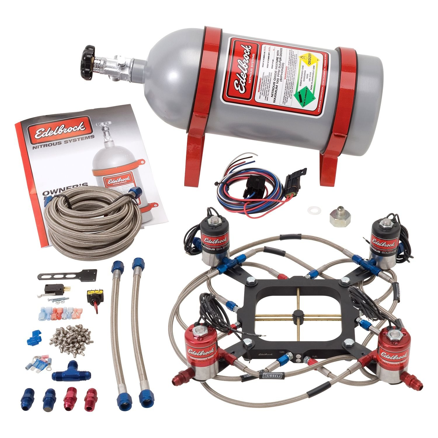 Edelbrock Ford Mustang 50l 1983 Performer Rpm Ii Carb Plate Efi With Nitrous Oxide Nos Wiring System Dual Stage For 4500 Series Carburetor