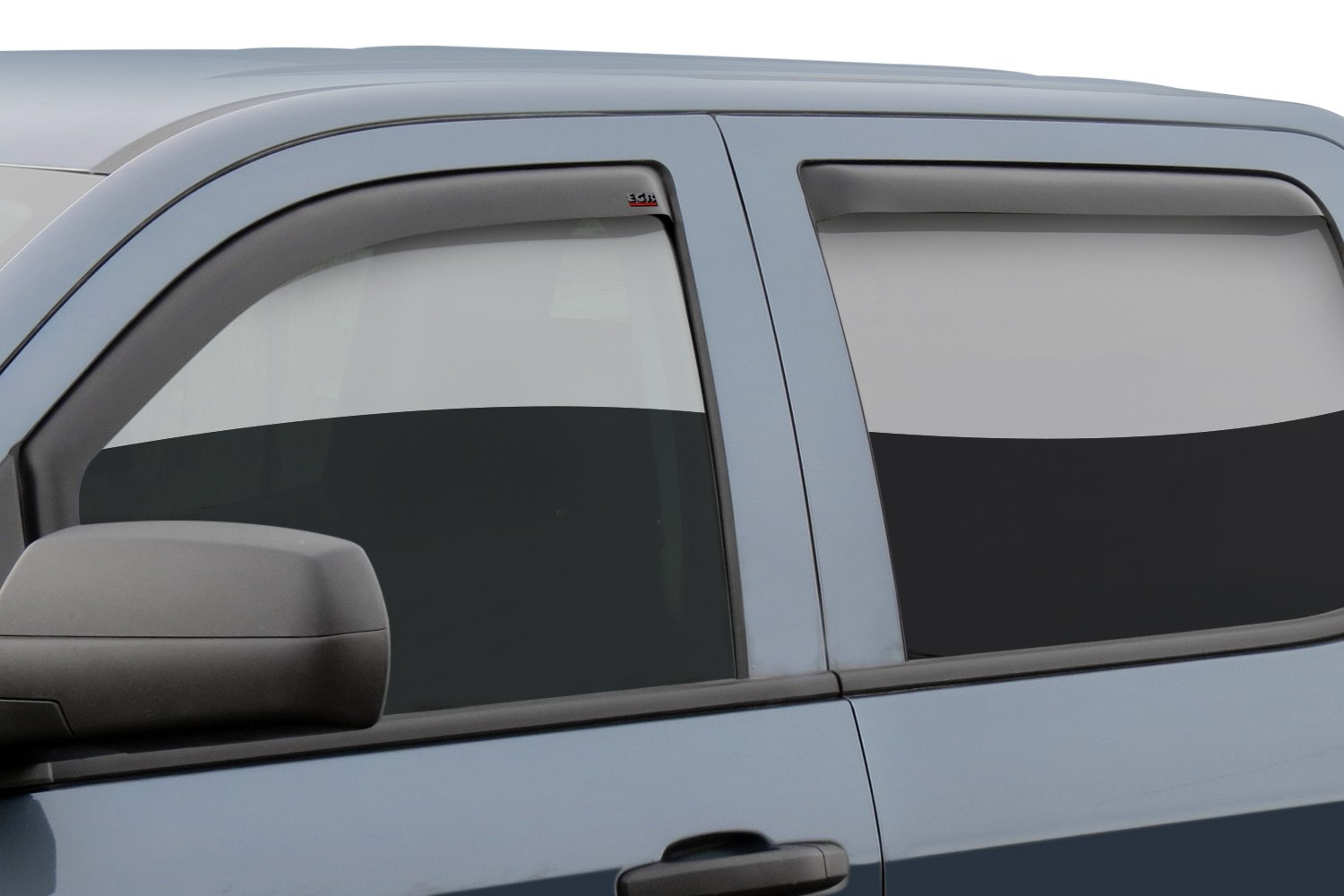 in channel matte black front and rear window visorsegr
