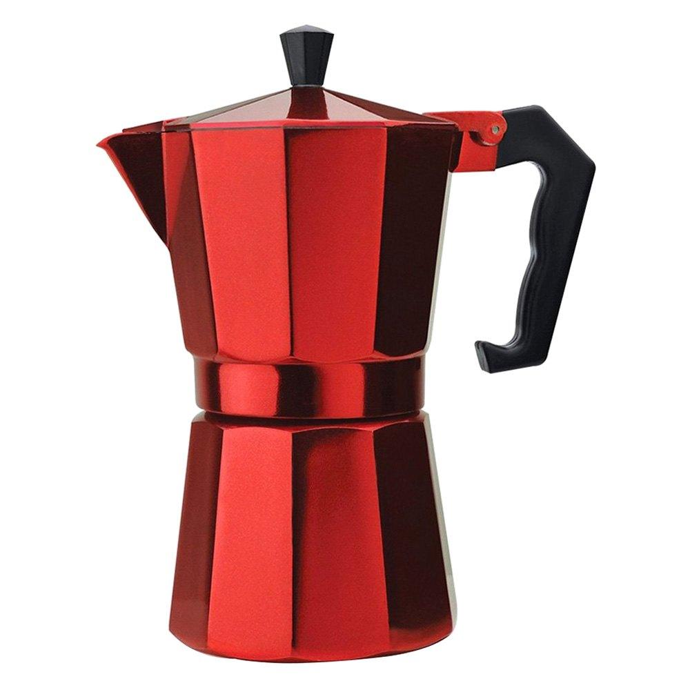 Epoca PERE3306 - 6 Cup Aluminum Stovetop Espresso Maker, Red