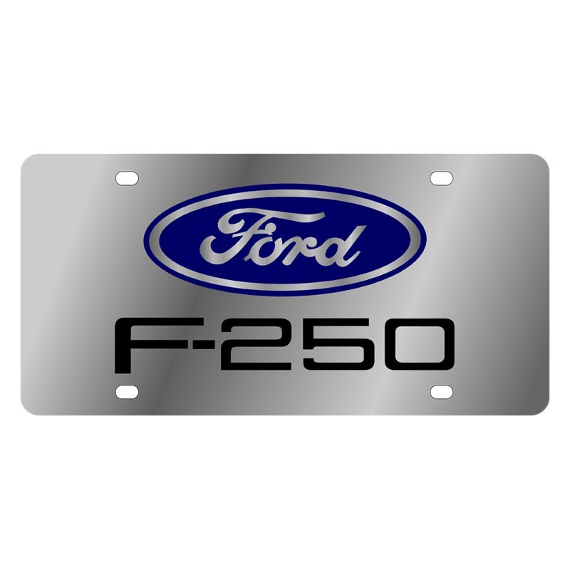 Ford Motor Company Polished License Plate W Black F 250