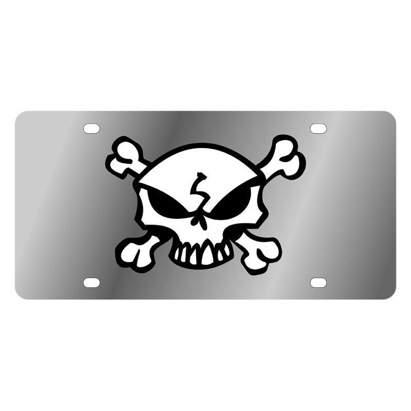 Eurosport Daytona® - LSN Polished License Plate with Skull & Crossbones Logo