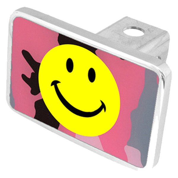 Smiley Face Pink Camouflage Premium Hitch Plug With Logo