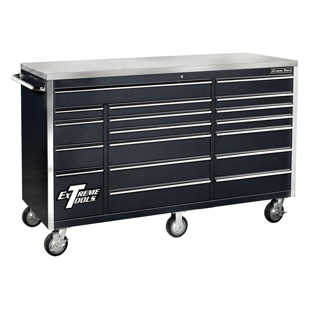 Extreme tools ex7218rcbk 72 black 18 drawer triple for Roller sideboard