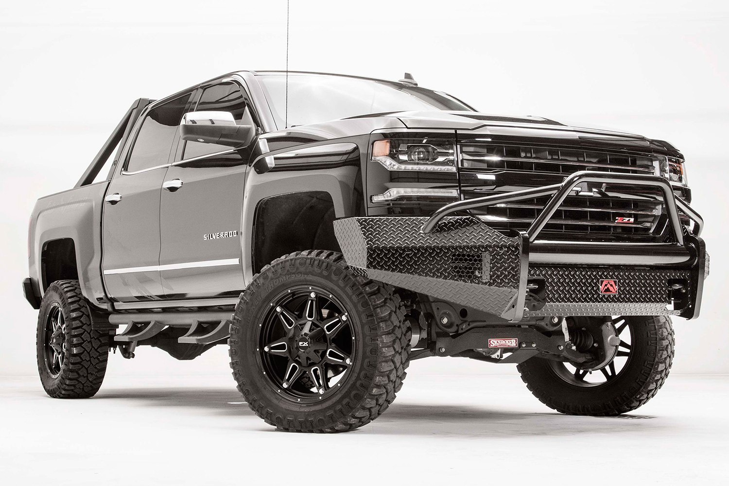 fab fours chevy silverado 2016 black steel full width front winch hd bumper with pre runner guard. Black Bedroom Furniture Sets. Home Design Ideas