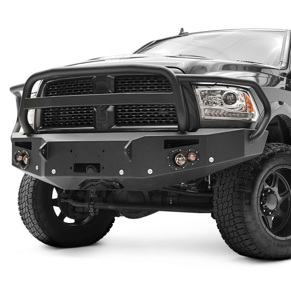 2016 Dodge Ram Reviews >> Fab Fours® - Ram 2500 2016 Premium Full Width Black Front Winch HD Bumper with Full Grille Guard