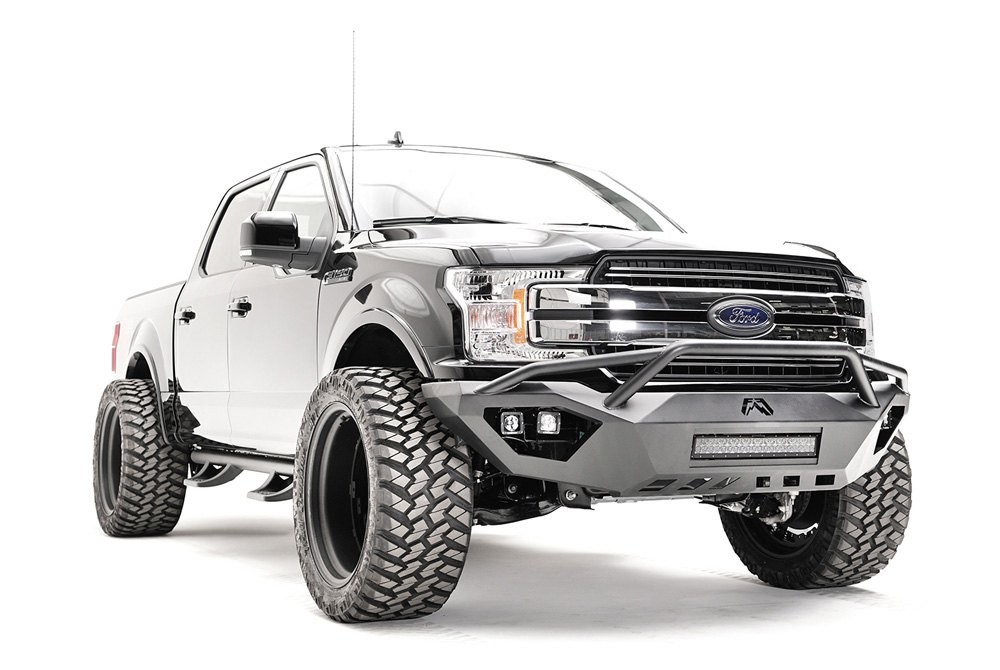 Off Road Bumpers F150 >> Fab Fours® - Ford F-150 2018 Vengeance Full Width Front HD Bumper with Pre-Runner Guard