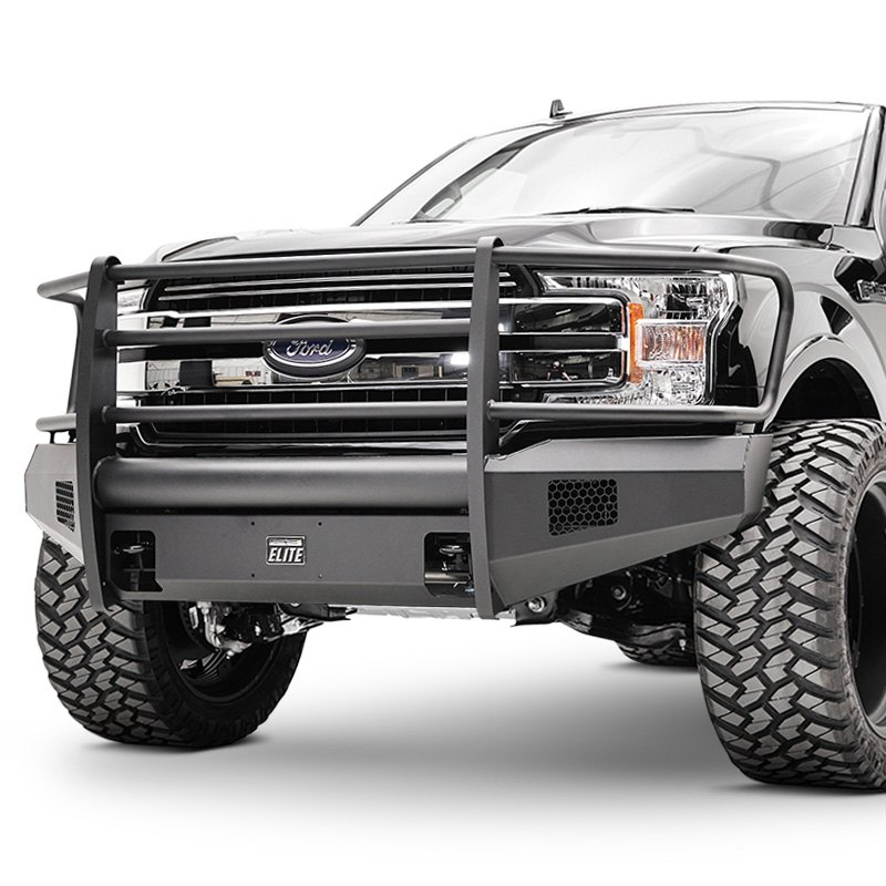 Off Road Bumpers F150 >> Fab Fours® FF18-R4560-1 - Black Steel Elite Full Width Black Front Winch HD Bumper with Full ...