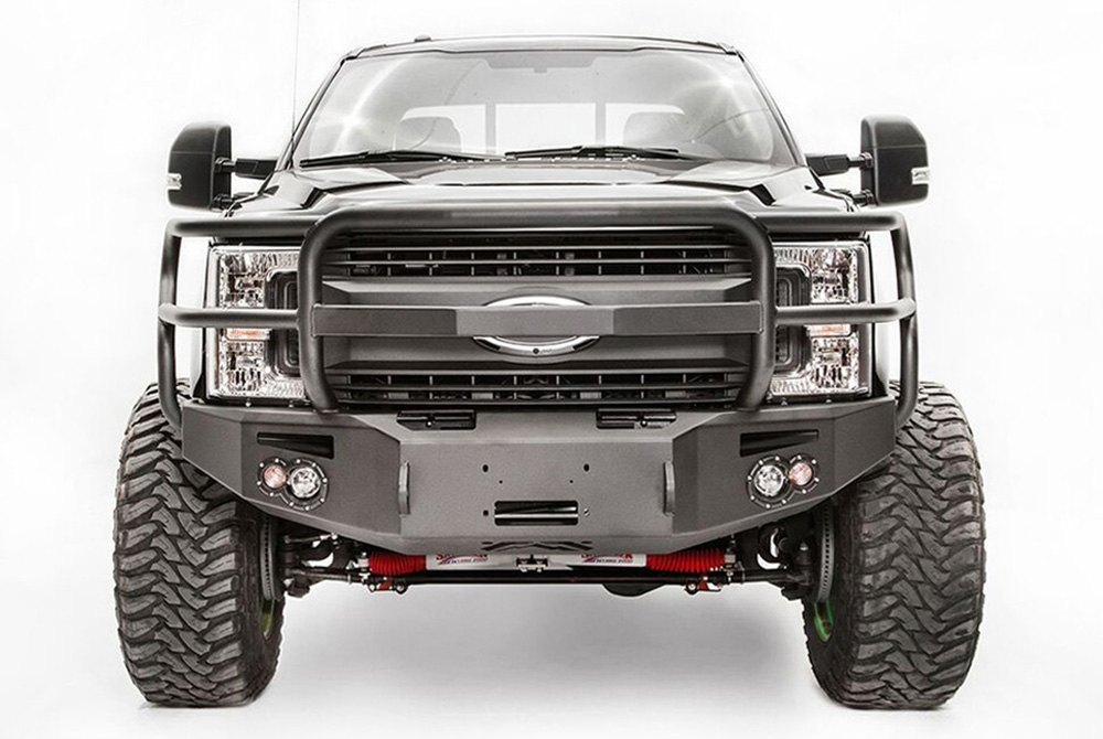 Car Bumper Guard >> Fab Fours® - Ford F-350 2017 Premium Full Width Black Front Winch HD Bumper with Full Grille Guard