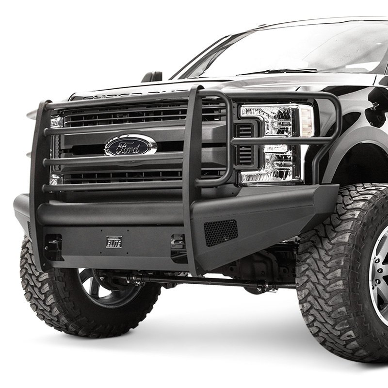 2017 Ford F350 King Ranch Dually >> Fab Fours® - Ford F-250 2017-2018 Black Steel Elite Full Width Front Winch HD Bumper with Full ...