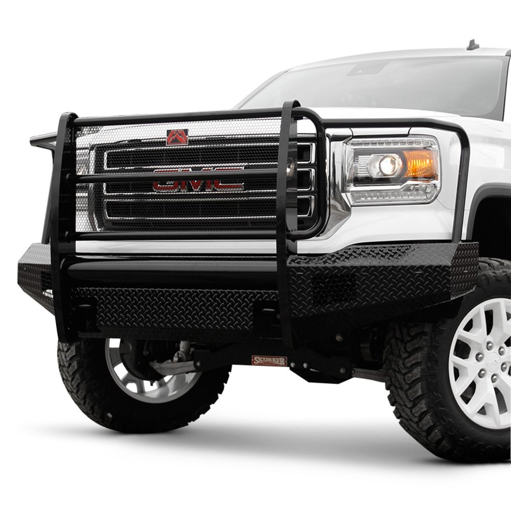 fab fours gmc sierra 2013 black steel full width front winch hd bumper with full grille guard. Black Bedroom Furniture Sets. Home Design Ideas