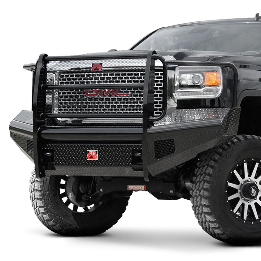 fab fours gmc sierra 2014 black steel full width front hd bumper with full grille guard. Black Bedroom Furniture Sets. Home Design Ideas