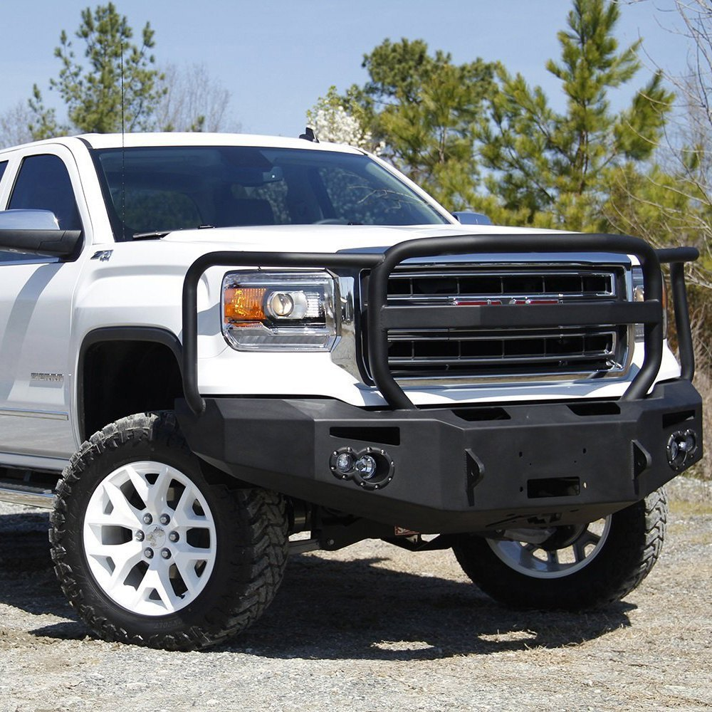 fab fours gmc sierra 2014 premium full width front winch hd bumper with full grille guard. Black Bedroom Furniture Sets. Home Design Ideas