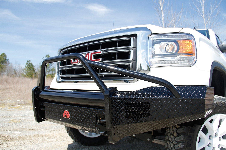 fab fours gmc sierra 2014 black steel full width front hd bumper with pre runner guard. Black Bedroom Furniture Sets. Home Design Ideas