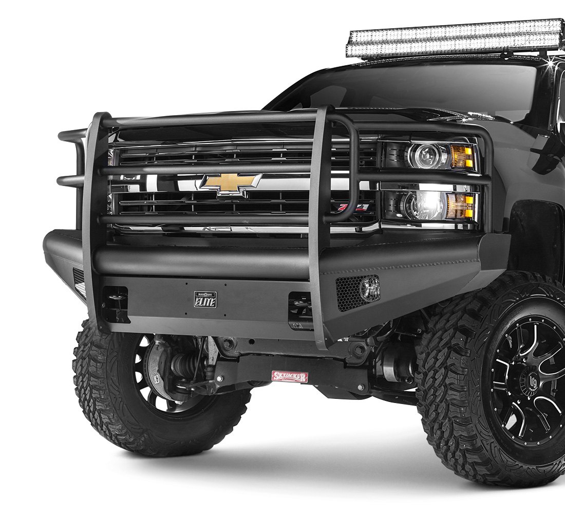 fab fours chevy silverado 2015 black steel elite full width front hd bumper with full grille. Black Bedroom Furniture Sets. Home Design Ideas