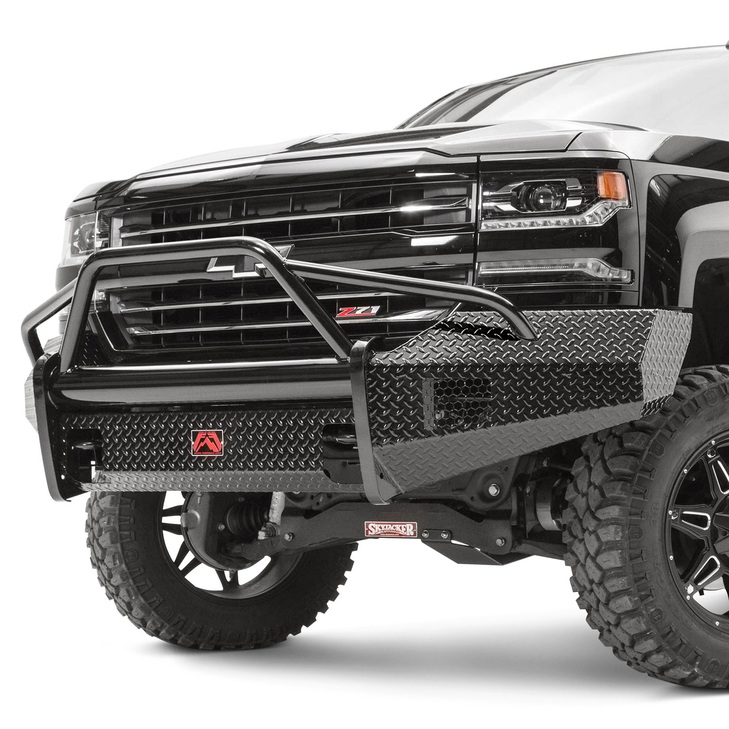fab fours chevy silverado 2500 hd 2005 black steel full width front hd bumper with pre runner. Black Bedroom Furniture Sets. Home Design Ideas