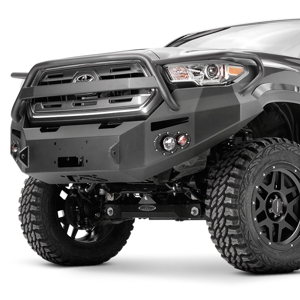 Fab fours toyota tacoma 2016 2017 premium full width front winch hd bumper with full grille guard