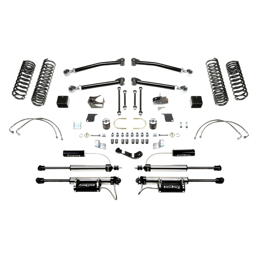 fabtech jeep wrangler 2007 2008 5 x 5 trail long travel front and rear suspension lift kit. Black Bedroom Furniture Sets. Home Design Ideas
