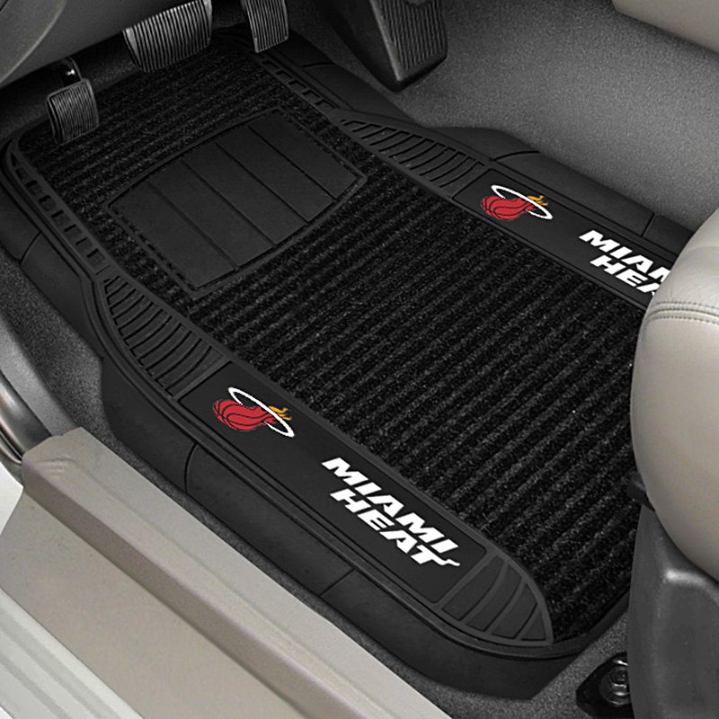 fanmats 13844 1st row black deluxe vinyl car mats with miami heat logo. Black Bedroom Furniture Sets. Home Design Ideas