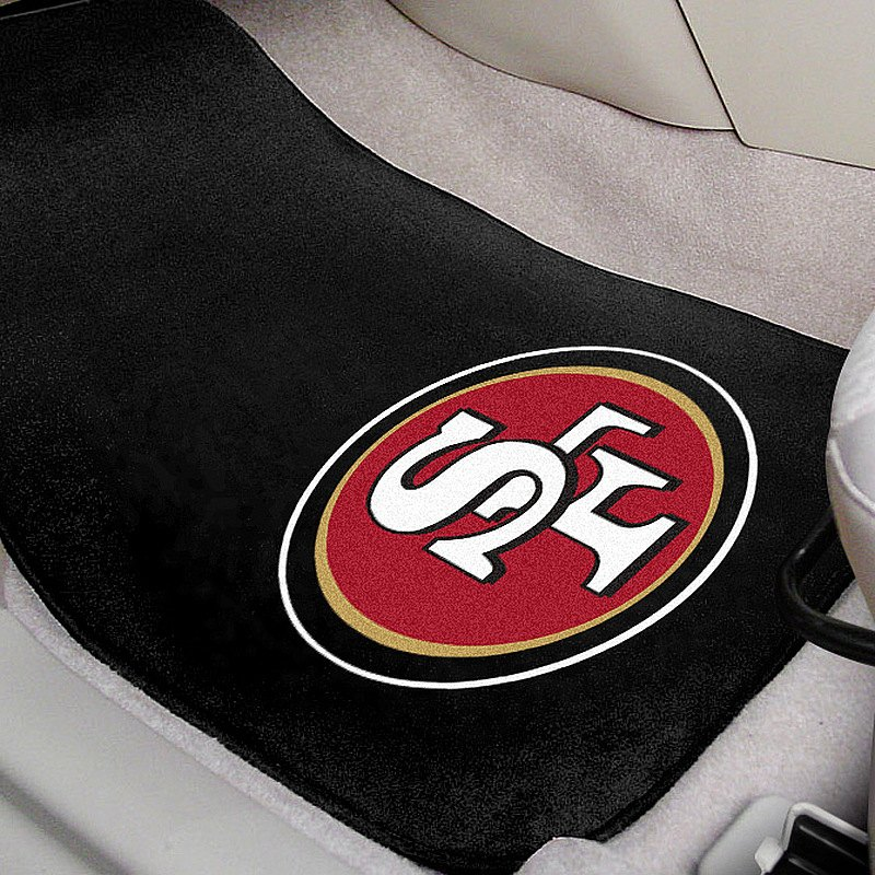 Fanmats 5833 San Francisco 49ers 1st Row Black Carpet Floor Mats With Oval 49ers Logo