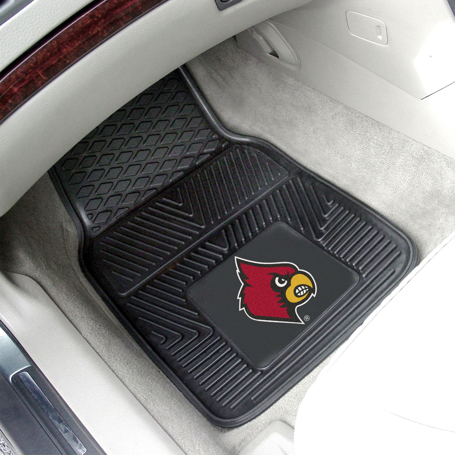 fanmats 8916 1st row collegiate heavy duty vinyl car mats with university of louisville logo. Black Bedroom Furniture Sets. Home Design Ideas