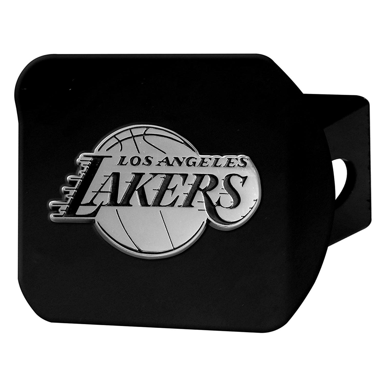 Fanmats 21013 sport chrome black hitch cover with los - Black lakers logo ...