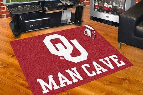 Fanmats 14685 university of oklahoma logo on man cave for Parquet mat ou satine