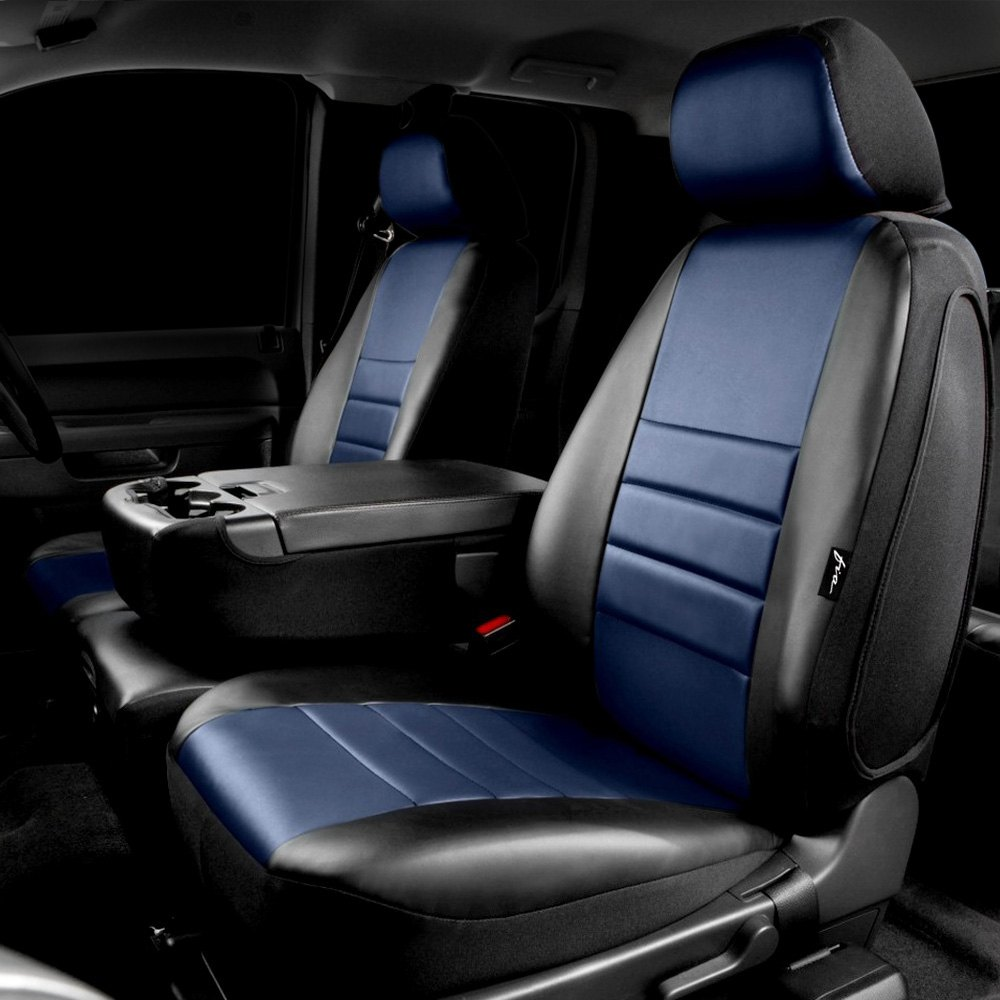 LeatherLiteTM Series 1st Row Black Blue Seat Cover