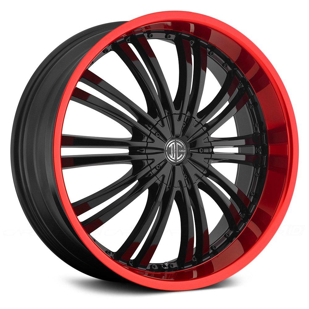 FIERO® NO.1 Wheels - Gloss Black with Red Lip Rims - N01 ...