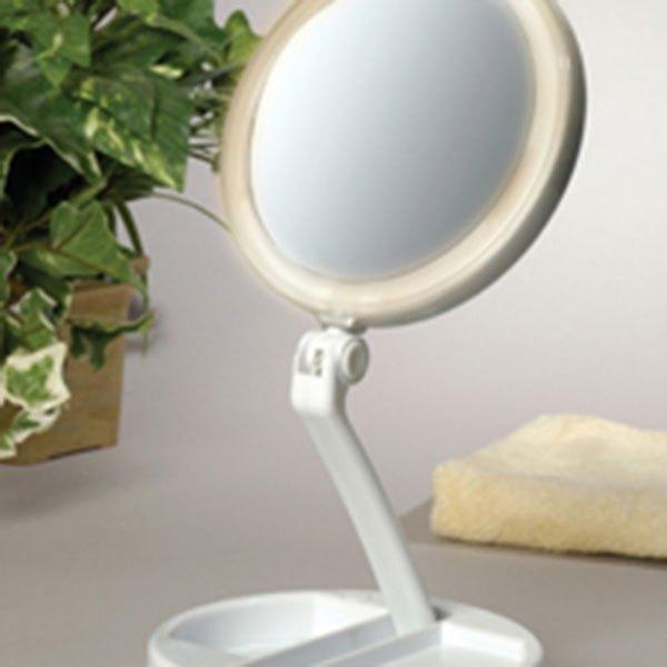 floxite 750412l 12x plus 1x led lighted folding vanity travel mirror. Black Bedroom Furniture Sets. Home Design Ideas