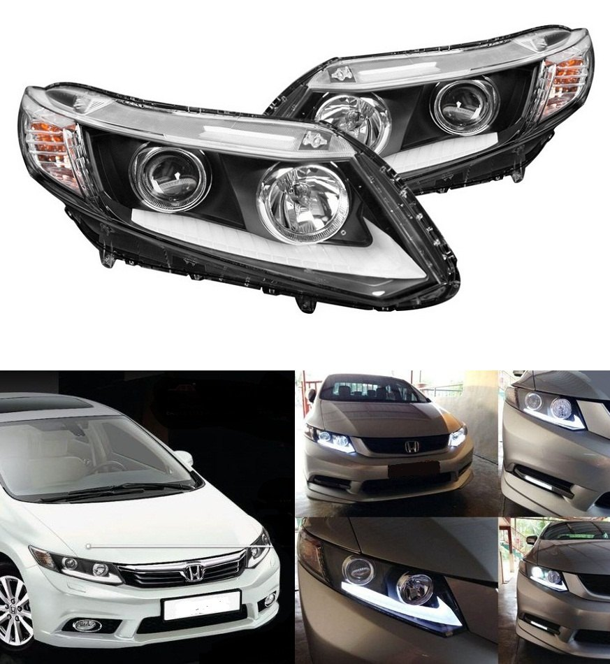 headlights with led drls for 9th gen civic. Black Bedroom Furniture Sets. Home Design Ideas