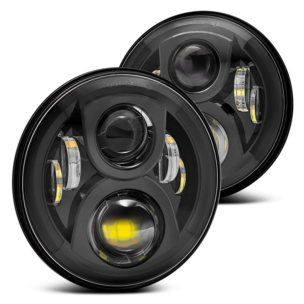 black lumen sb7150aa blk 7 round black led projector headlights. Cars Review. Best American Auto & Cars Review