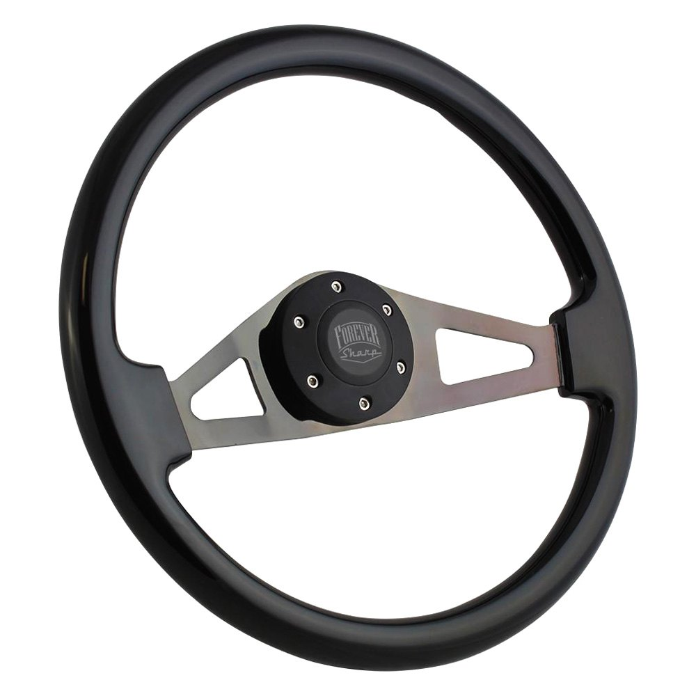 Forever Sharp 2 Spoke Aviator Steering Wheel 1970 Ford Crew Cab With Billet Horn Button
