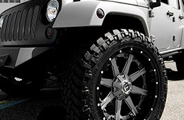 Fuel Nutz 2PC Black with Machined Face on Jeep Wrangler JK