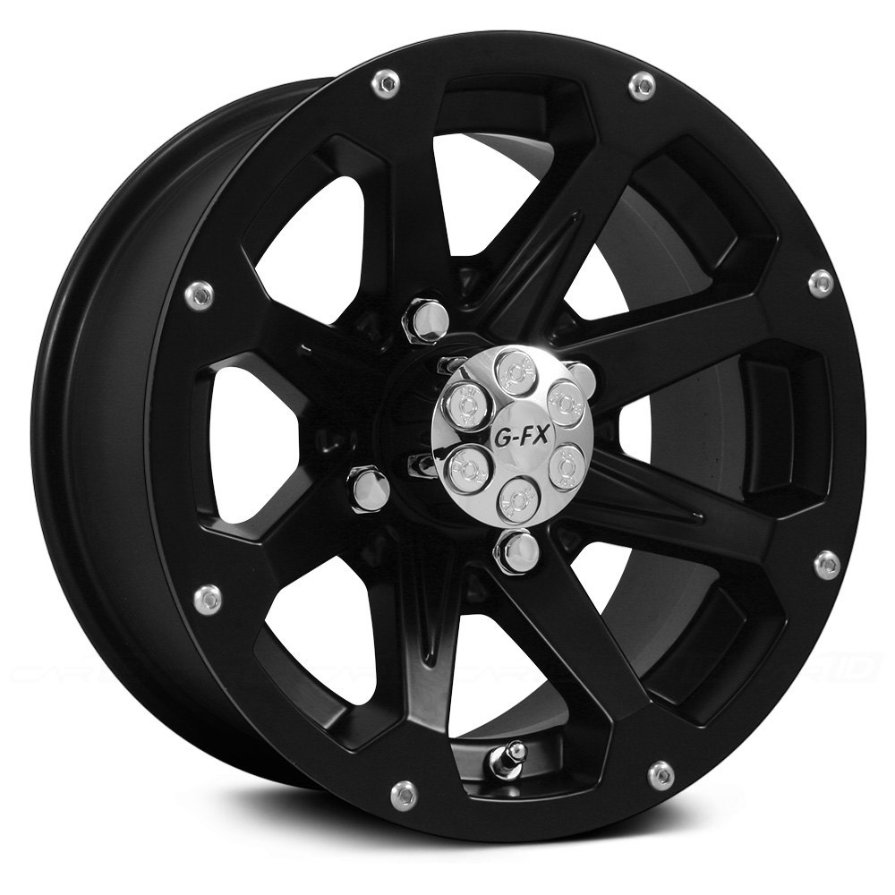 Atv Rims Wheel Covers : G fx atv six shooter wheels matte black rims
