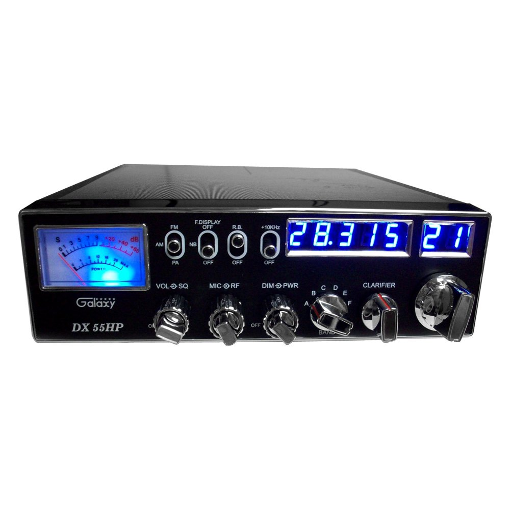 galaxy dx55hp 10 meter am fm mobile radio with blue numbers frequency display. Black Bedroom Furniture Sets. Home Design Ideas