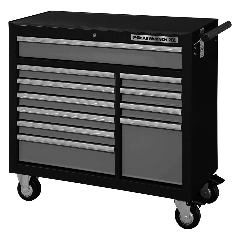 Gearwrench 83157 42 black silver xl series roller cabinet for Black and silver cabinet