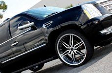 GIOVANNA CALISIX Black with Machined Face and Lip on Cadillac Escalade