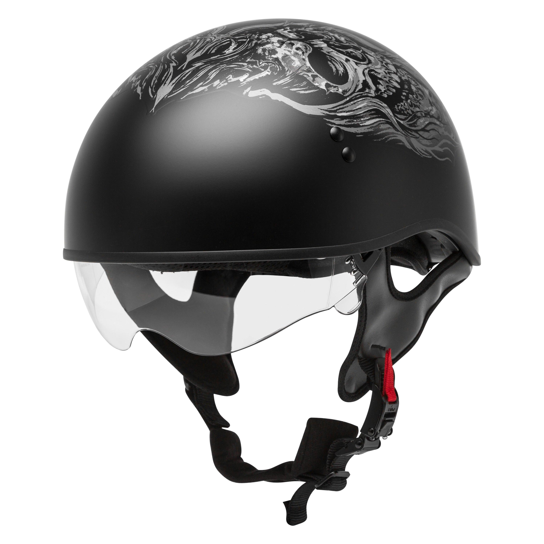 GMax GM65 Naked Ghost RIP Flat Black/Silver Half Helmet