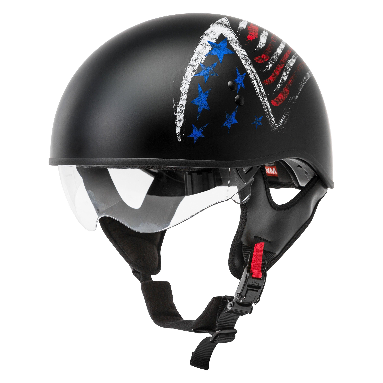 GMAX HH-65 Half Helmet - Bravery Matte Black/Red/White