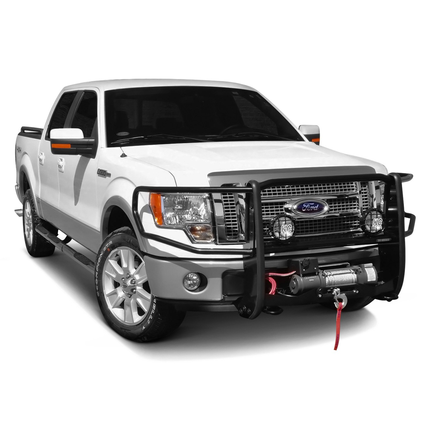 rhino black winch mount with brush guard installed