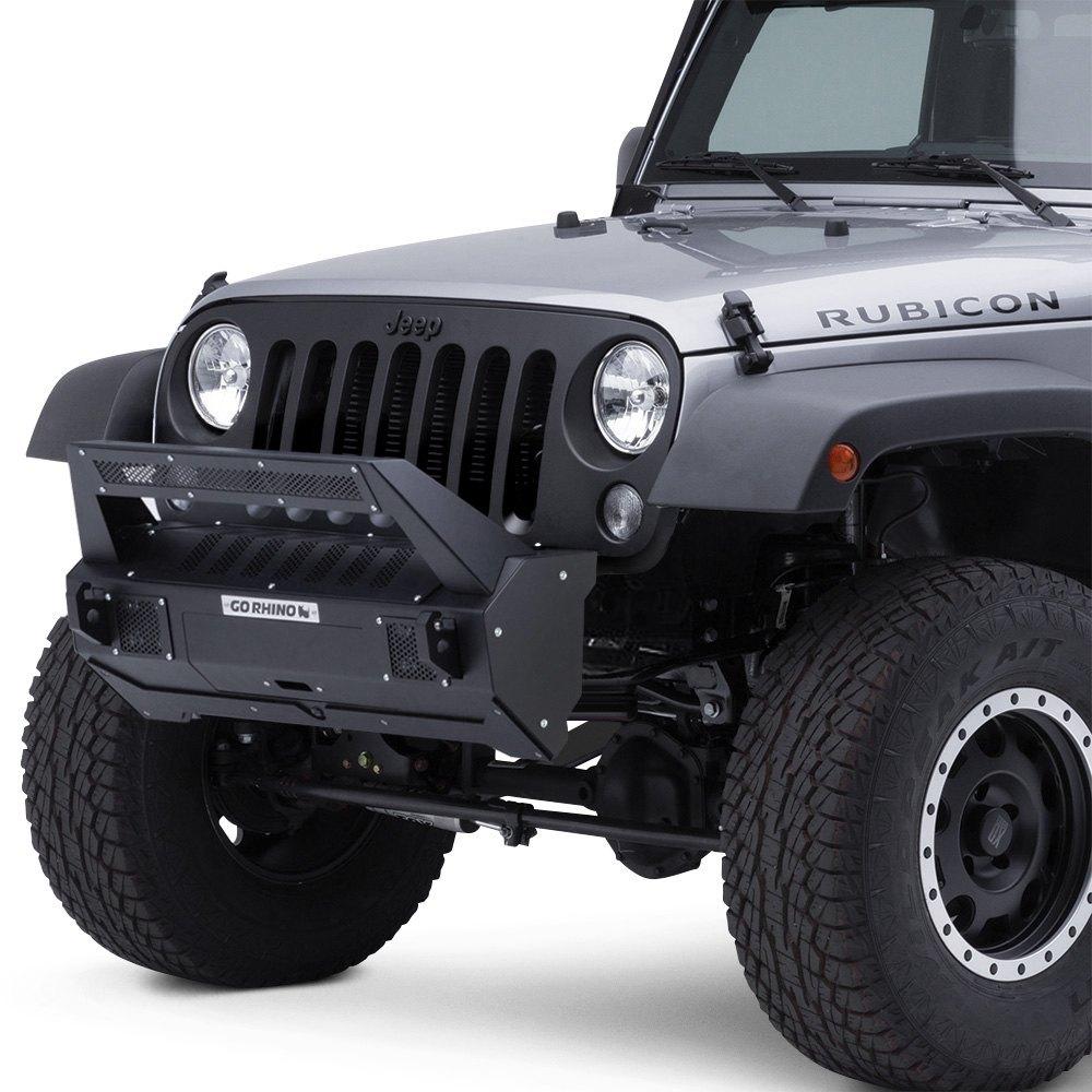 Go rhino jeep wrangler 2007 2017 brj40 stubby black front winch go rhino brj40 stubby front modular black bumper aloadofball Gallery