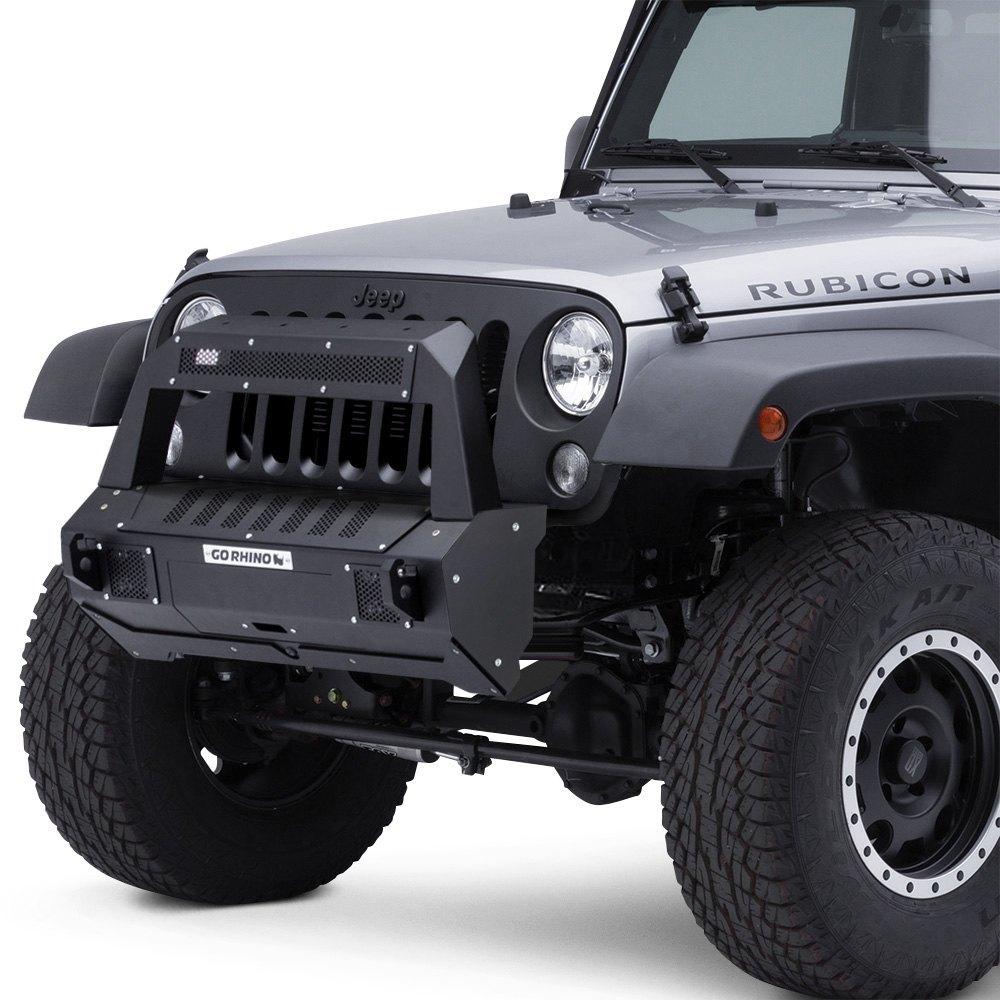 For Jeep Wrangler 07-17 Bumper BRJ40 Stubby Black Front