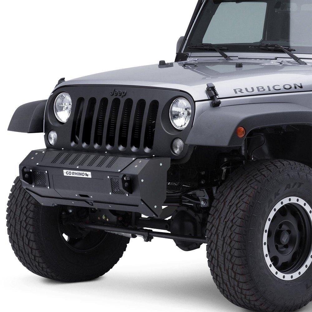Jeep Wrangler 07-17 Go Rhino BRJ40 Stubby Black Front