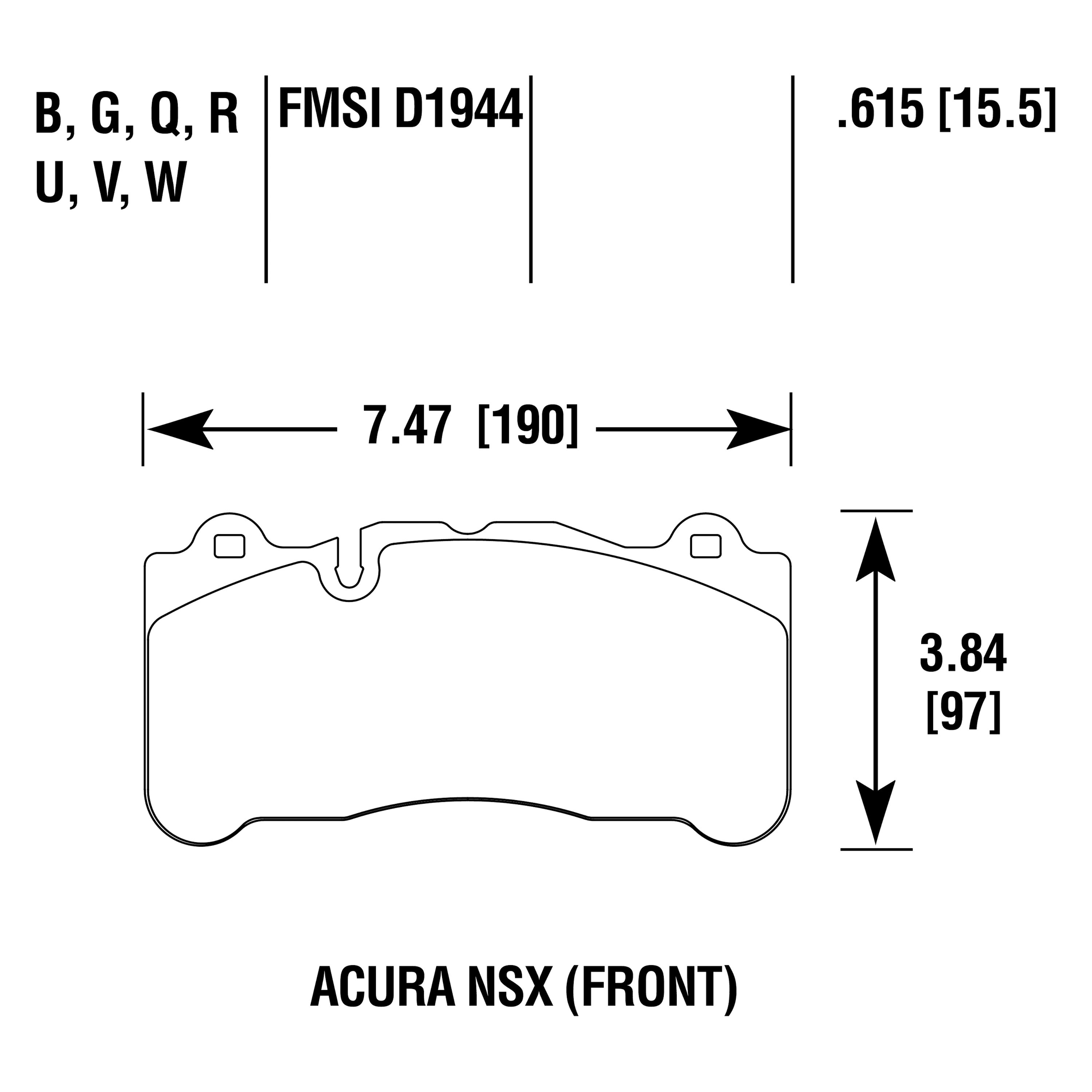 For Acura NSX 17-20 Hawk HB840B.615 High Performance
