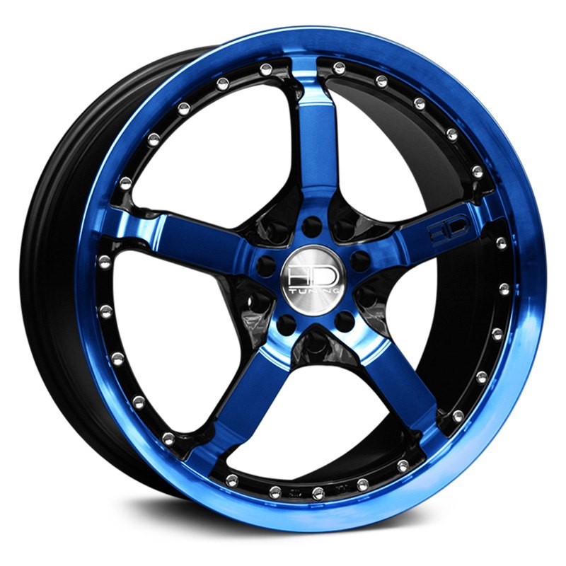 Hd cool down wheels gloss black with blue face and lip rims